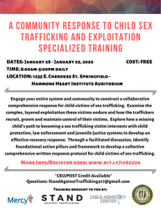 A Community Response to Child Sex Trafficking and Exploitation Specialized Training @ Hammons Heart Institute Auditorium