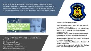 Law Enforcement Training: Interdiction for the Protection of Children Program